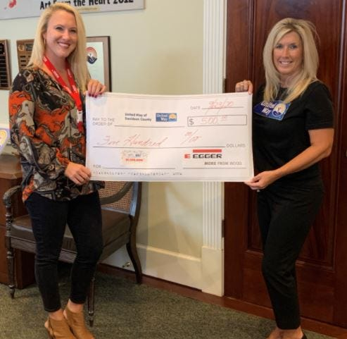 Allyson Davenport, HR coordinator recruiter at EGGER Wood Products, presents check to United Way of Davidson County Campaign Chair Jodi Hunt.