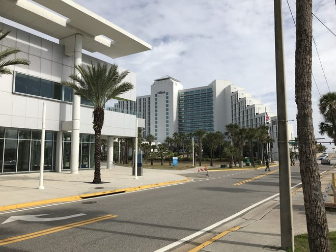 The beachside Ocean Center convention complex in Daytona Beach is directly across the street from the 744-room Hilton Daytona Beach Oceanfront Resort, the largest hotel in the Volusia-Flagler area.