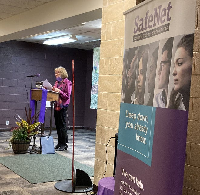 Linda Lyons King, CEO of SafeNet in Erie, speaks at the agency's event on Thursday at the Bethany Outreach Center to recognize October as Domestic Violence Awareness Month and to discuss a new initiative to better coordinate the response to domestic violence in Erie County.