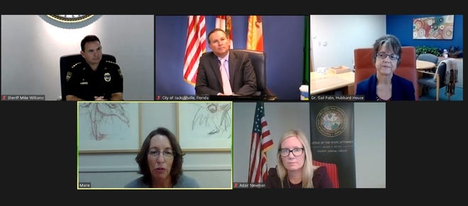 A domestic-abuse victim identified as Marie (lower left) speaks about her experiences as (left to right top) Sheriff Mike Williams, Mayor Lenny Curry and Hubbard House CEO Gail Patin listen along with Assistant State Attorney Adair Newman. This was during a virtual kickoff to Domestic Violence Awareness Month.