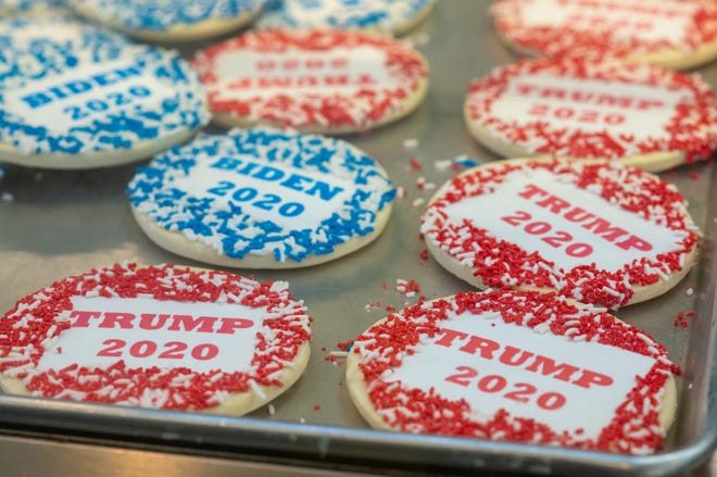 Biden and Trump cookies await voters at Lochel's Bakery in Hatboro.