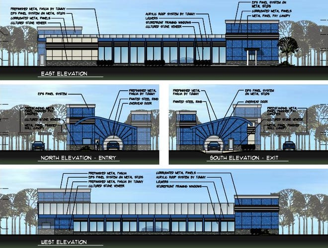 Artist's renderings of what the proposed car wash would look like.
