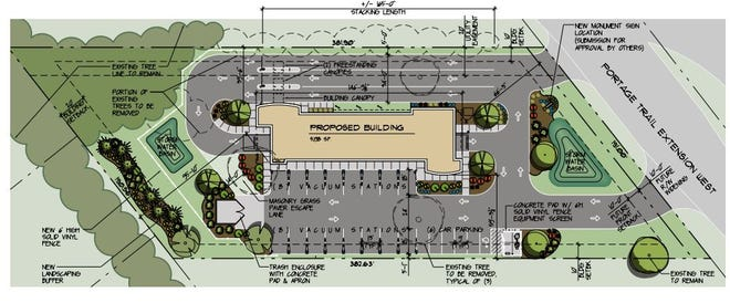On overhead schematic of the proposed car wash.