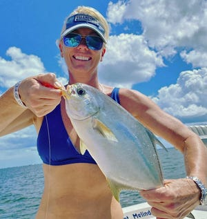 Jennifer Johnson of Stuart caught this pompano on a Hank Brown jig tipped with shrimp in the Indian River near Fort Pierce while fishing with Capt. Melly B of Bucks Tale Charters this past week.