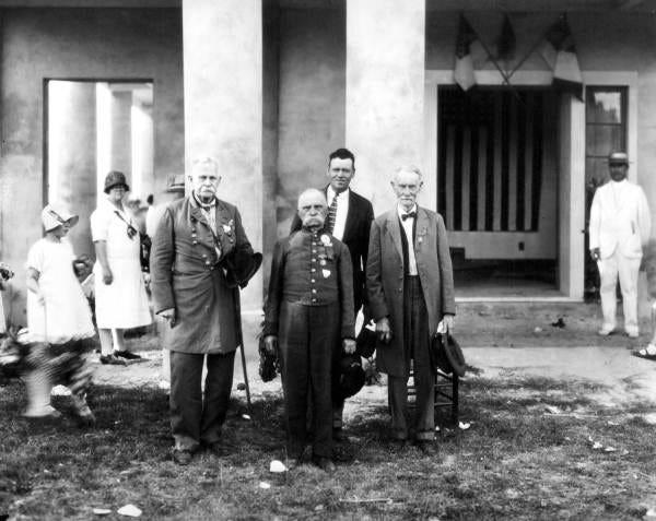 Confederate veterans at the Gamble Plantation Judah P. Benjamin Memorial, 1920.