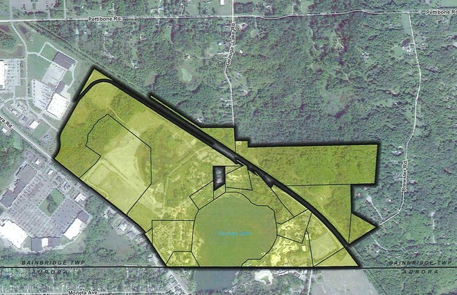 The area in yellow — located entirely in Bainbridge Township — is the joint economic development district approved Sept. 28 by Bainbridge and Aurora.