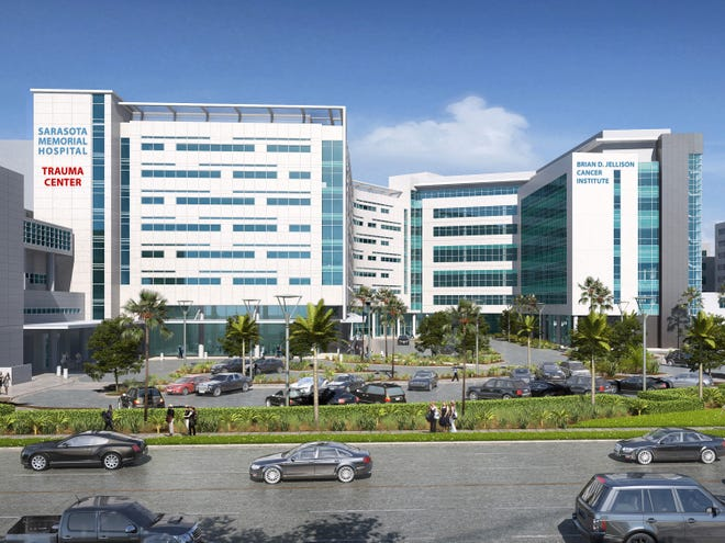 A rendering of the Brian D. Jellison Cancer Institute at Sarasota Memorial Hospital. The facility is slated to open in fall 2021.