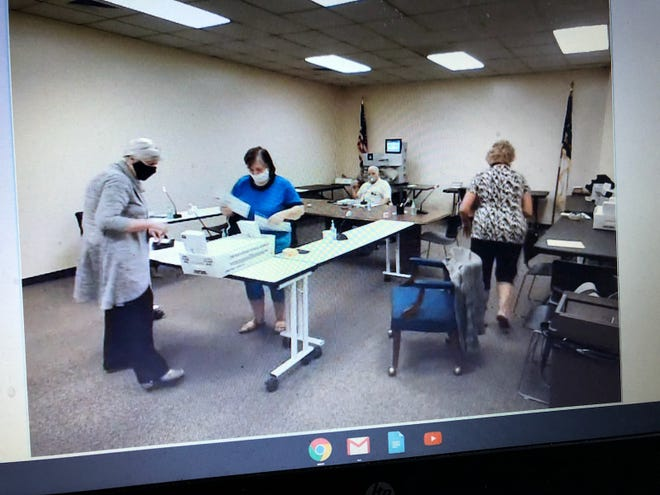 Cumberland County Board of Elections members review absentee ballots during a meeting held Thursday, Oct. 1, 2020. The meeting is the second of 21 scheduled ahead of the Nov. 3 election to review the absentee ballots.