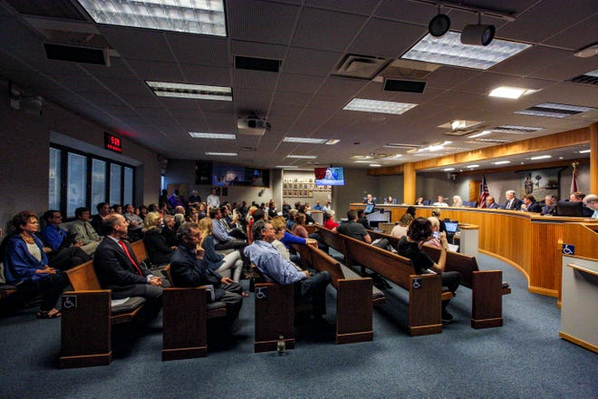 The Alachua County Commission meets in 2018.