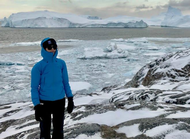 Michalea King stands near Disko Bay, west Greenland, during fieldwork in May 2018.