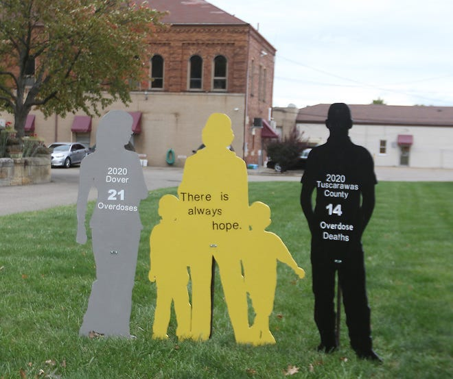 Project Hope silhouettes near Dover City Hall represent people affected by overdoses. There have been  21 overdoses in Dover this year. Tuscarawas County has seen 28 overdose deaths so far this year. The number on the black sign represents a previous total. The yellow sign represents hope.