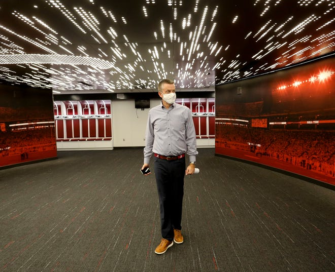 The University of Alabama showed off renovations to Bryant Denny Stadium Thursday, Oct. 1, 2020. Director of Athletics Greg Byrne stands in the new locker room as he directs a tour. [Staff Photo/Gary Cosby Jr.]