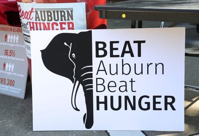 The Beat Auburn Beat Hunger food drive is underway outside the Ferguson Student Center at the University of Alabama Tuesday, Oct. 1, 2019. Food donations will go to the West Alabama Food Bank for distribution to agencies and those in need. [Staff Photo/Gary Cosby Jr.]