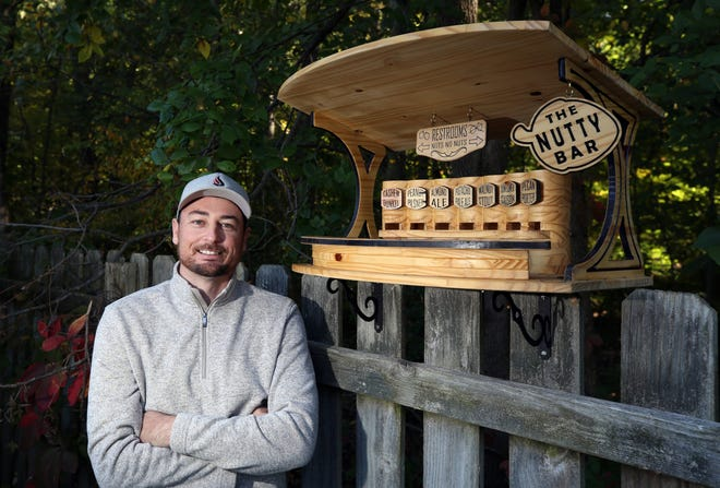 Mike Dutko of west Columbus has invented the Nutty Bar squirrel feeder. He has applied for a patent and trademark after a great deal of early interest in the invention.