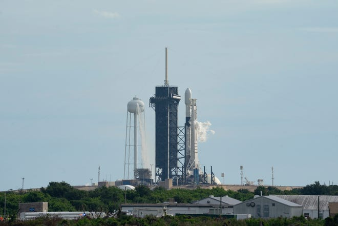 SpaceX's Falcon 9 rocket is fueled and ready for liftoff at Kennedy Space Center's pad 39A on Thursday, Oct. 1, 2020. The mission was scrubbed 18 seconds before liftoff due to bad sensor readings.