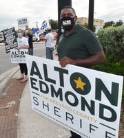 Alton Edmond, seen here, is running for Sheriff of Brevard County. Two rallies were held in Merritt Island Wednesday evening, September 30th, at the intersection of S.R. 520 and Courtenay Parkway. One was a large Back the Blue gathering in support of Sheriff Wayne Ivey and President Trump. The other was a smaller group supporting Alton Edmond, a candidate for Sheriff, Joe Biden and police accountability.