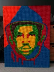 A portrait of Trayvon Martin, made using Skittles by local Collingswood artist Courtney Newman.
