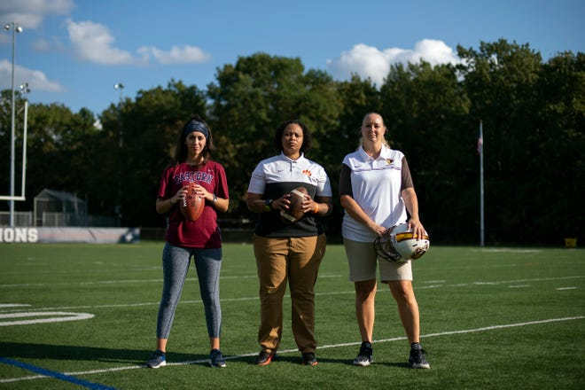 Coaches Mila DeGregorio, from left, Jae Gladden and Karen Rau pose for a portrait in Voorhees, N.J.