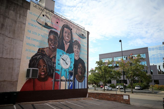 "The ""Time Saved vs. Time Saved,"" mural, pictured, Wednesday, Sept. 30, 2020, represents the 200th permanent mural ArtWorks has sponsored."