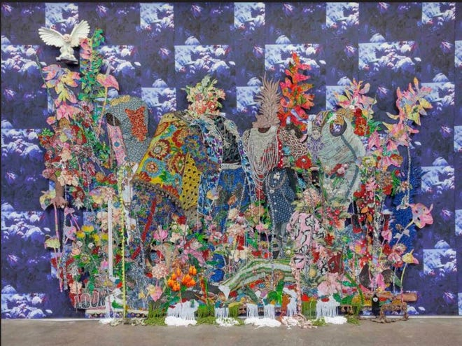 Hand-cut jacquard woven photo tapestry by Ebony G. Patterson (Jamaican, born 1981).