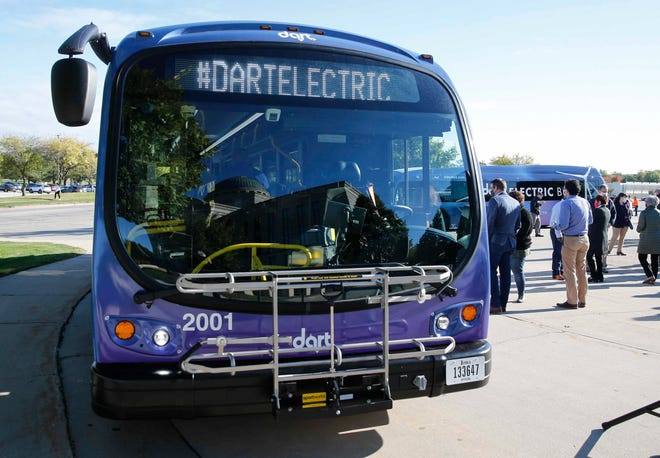 The Des Moines Area Regional Transit Authority unveils two fully electric buses Oct. 1, 2020, in Des Moines.