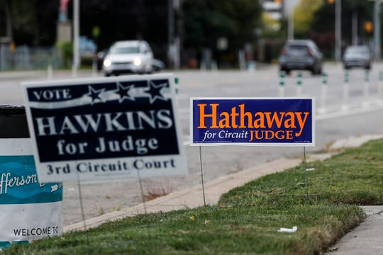A Nicholas John Hathaway for Wayne Circuit Court Judge sign on Jefferson Avenue in Detroit, Tuesday, Sept. 29, 2020.
