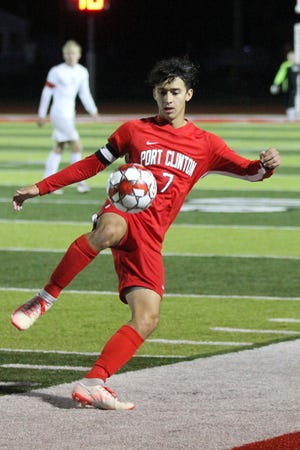 Port Clinton's Kieran Mackey controls the ball.
