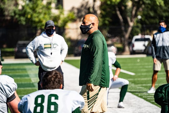 CSU football coach Steve Addazio addresses his players during the team's first practice in full pads Sept. 29, 2020.