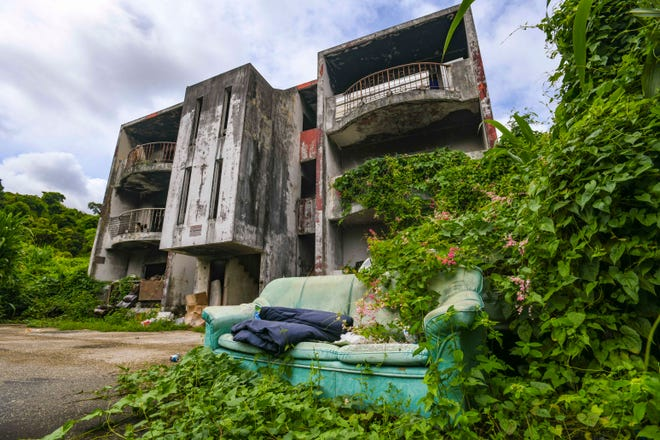 An abandoned apartment building, located in the jungle behind the Acanta Mall in Tumon, on Thursday, Oct. 1, 2020. The structure is known to serve as a makeshift shelter for members of the island's homeless community.