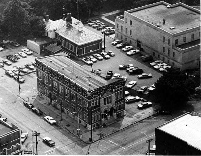 Clockwise from corner, old City Hall, old county jail, and current courthouse. The city fire inspector condemned City Hall Aug. 17, 1970, and condemned the jail six weeks later on Sept. 29. County authorities had been expecting the condemnation and had already made an offer to buy the old telephone building on Main Street, which was renovated into a jail that was used until 1996. This photo dates between mid-1965 and late 1968.