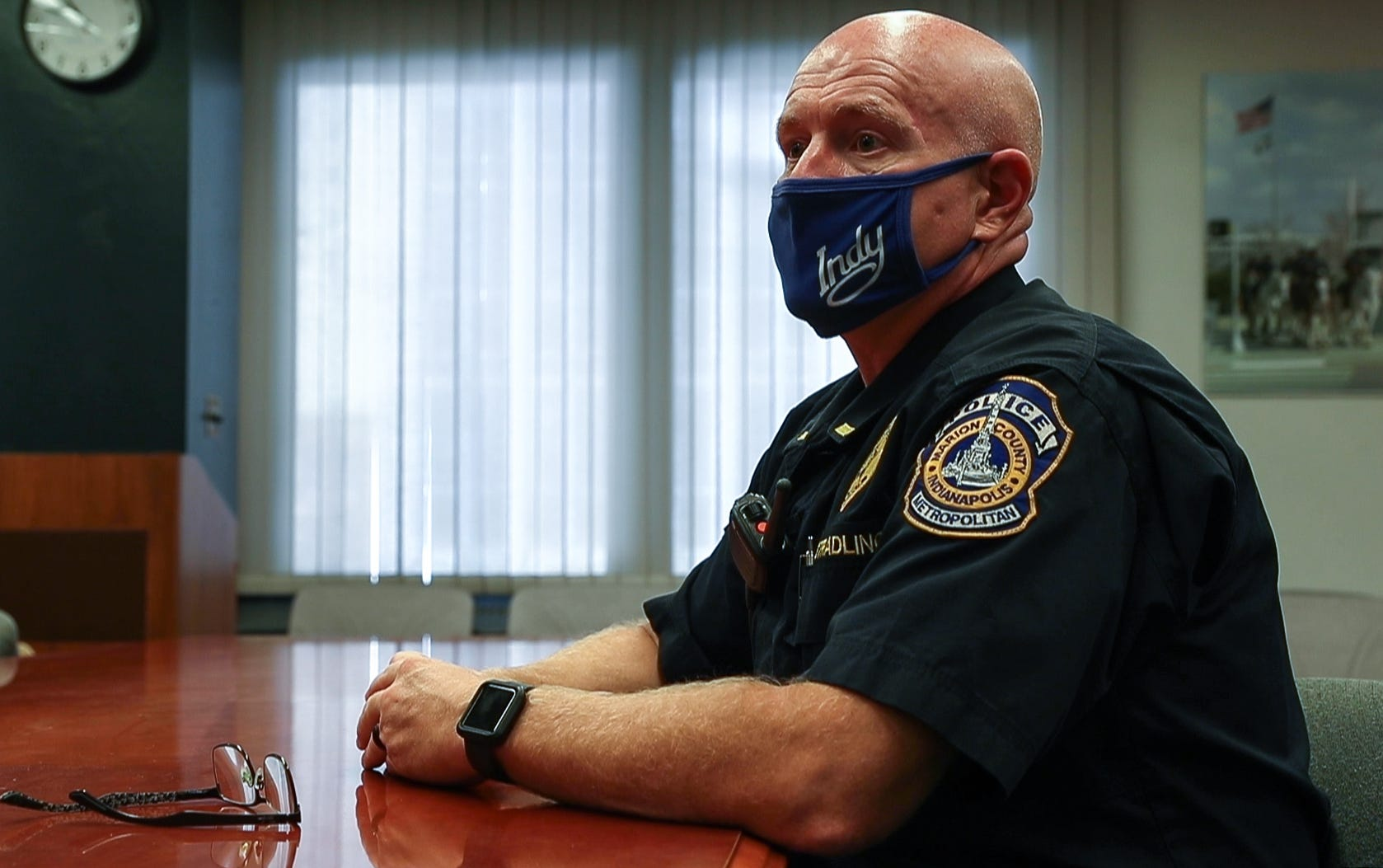 Lt. Robert Stradling, of the Indianapolis Metropolitan Police Department (IMPD), speaks with IndyStar at the City-County Building in Indianapolis on June 30, 2020. Stradling has supervised the department's K-9 unit for more than two years.