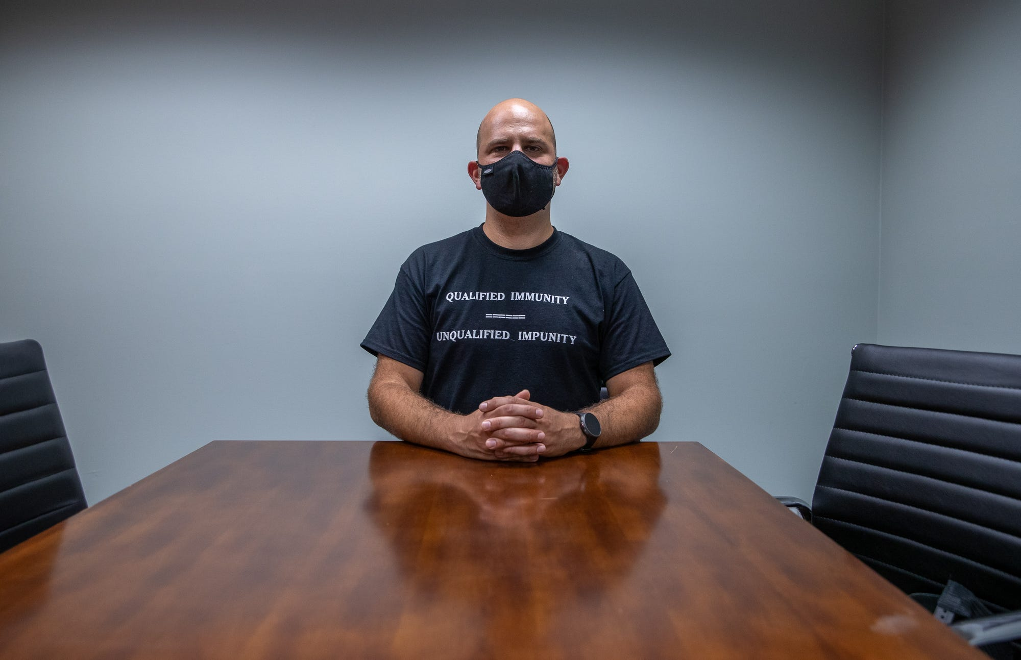 Jon Little, the lawyer representing Gordon Mitchum's dog bite case against the Indianapolis Metropolitan Police Department, poses for a portrait inside his office in Indianapolis on Tuesday, July 21, 2020.