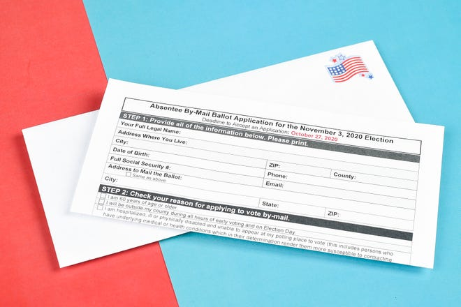 A photo illustration of a Tennessee Absentee By-Mail Ballot Application for the Nov. 3 2020 election in Knoxville, Tenn. on Thursday, Oct. 1, 2020.