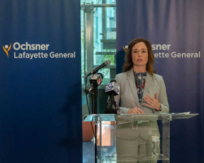 Chief Medical Officer Dr. Amanda Logue speaks at press conference announcing Ochsner Health System's merger with Lafayette General on Thursday, Oct. 1, 2020.
