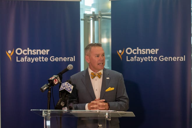 David Callecod - President of Lafayette General Health System speaking at press conference to announce Oschner Lafayette General. Thursday, Oct. 1, 2020.