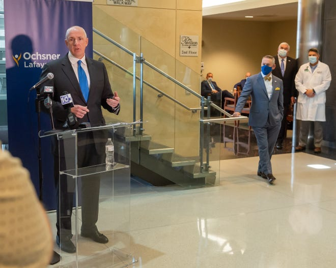 Warner Thomas -President and CEO of Ochsner Health speaking at press conference to announce merger with Oschner Lafayette General. Thursday, Oct. 1, 2020.