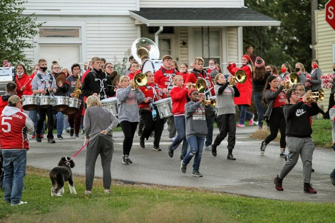 The Shelby High School Band led the way for the Homecoming Parade on Wednesday night.