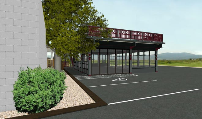 This rendering of The Brookwater Group's pavilion design shows the building's glass doors and upper level railings.
