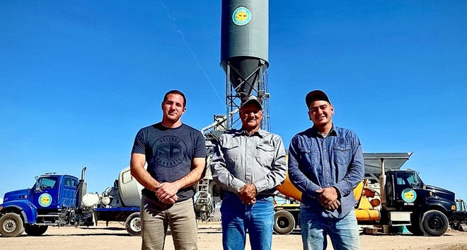From left, Nick, Jaime and Emilio Salinas opened Salinas Concrete in Deming. The business is located at 4375 McCan Road SE. The business can handle ready-mix concrete pouring and septic tank services for residential, commercial and industrial purposes.