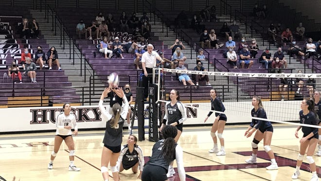 Sept. 30, 2020; Hamilton plays at home against Perry in girls volleyball regular season match