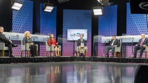 Six candidates for the Arizona Corporation Commission get ready for a debate at the PBS studio at the Cronkite building at ASU in downtown Phoenix on Sept. 30, 2020.