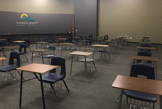 The lecture hall at Coronado High School in south Scottsdale on Monday, Aug. 17, was set up for students in 6th-12th grade who need a safe, supervised place to learn.