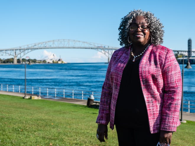 Mary Meadows, new president of Old Newsboys, poses for a portrait Thursday, Oct. 1, 2020, at Pine Grove Park in Port Huron.