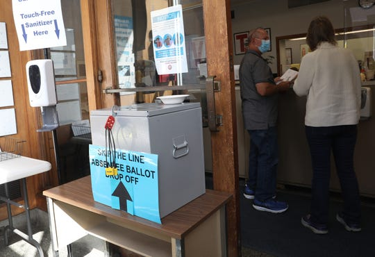 An absentee ballot box in the lobby at the Dutchess County Board of Elections in Poughkeepsie on Oct. 1.