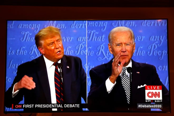 President Donald Trump and Democratic presidential nominee Joe Biden participate in the first presidential debate at the Health Education Campus of Case Western Reserve University, on Tuesday, Sept. 29, 2020, in Cleveland. (Yuri Gripas/Abaca Press/TNS)