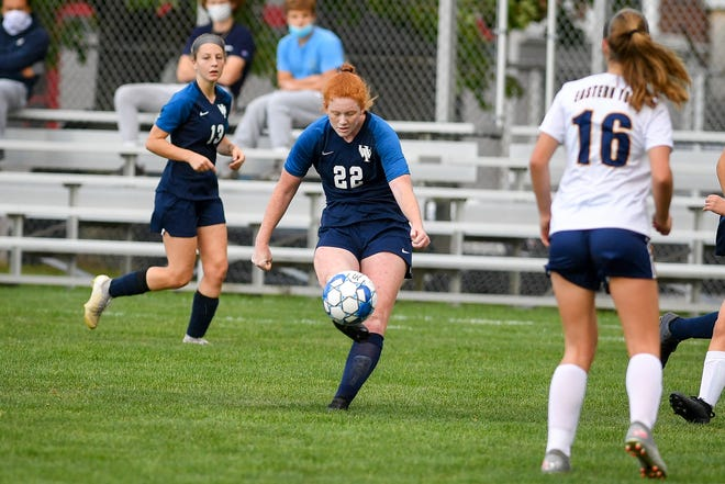 West York's Alexis Miller sends a long-distance kick into the Eastern York goal for the Bulldog's first goal of the game,Thursday, October 1, 2020.John A. Pavoncello photo