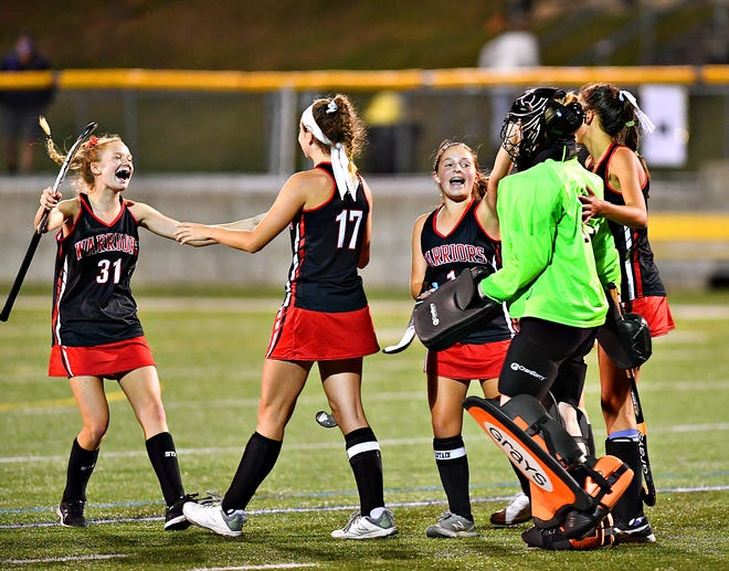 Susquehannock celebrates a 2-1 win over Red Lion during field hockey action at Horn Field in Red Lion, Wednesday, Sept. 30, 2020. Dawn J. Sagert photo