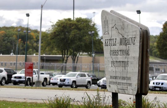 The entrance to the Kettle Moraine Correctional Institution as seen, Thursday, October 1, 2020, near Glenbeulah, Wis.
