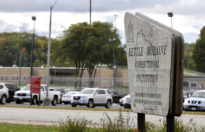 The entrance to the Kettle Moraine Correctional Institution as seen Oct. 1, 2020, near Glenbeulah, Wis.