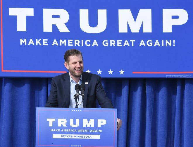 Eric Trump speaks at T.J. Potter Trucking Thursday, Oct. 1, 2020, in Becker.